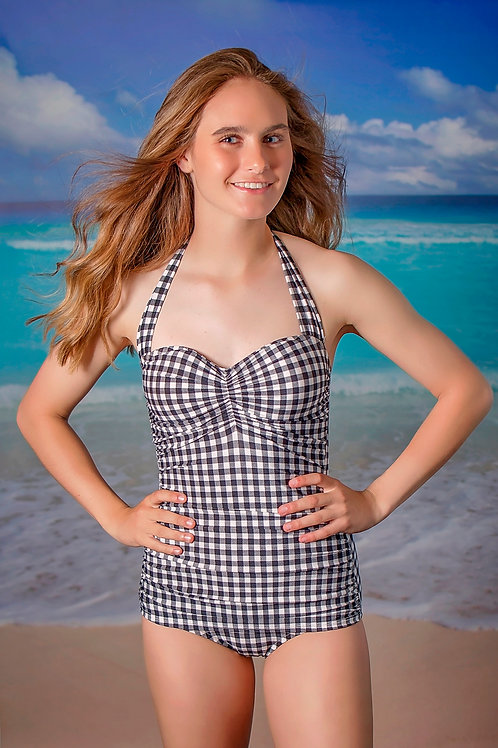 Classic Sheath Swimsuit Black Gingham