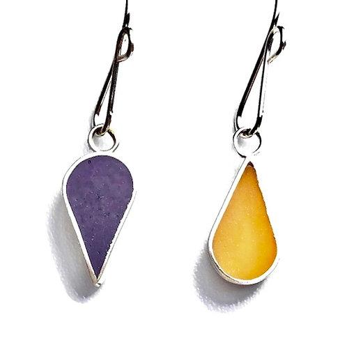 Reversible Teardrop Earrings - Purple and Yellow