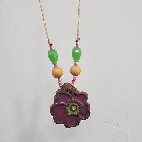 Purple Wildflower Tile Necklace