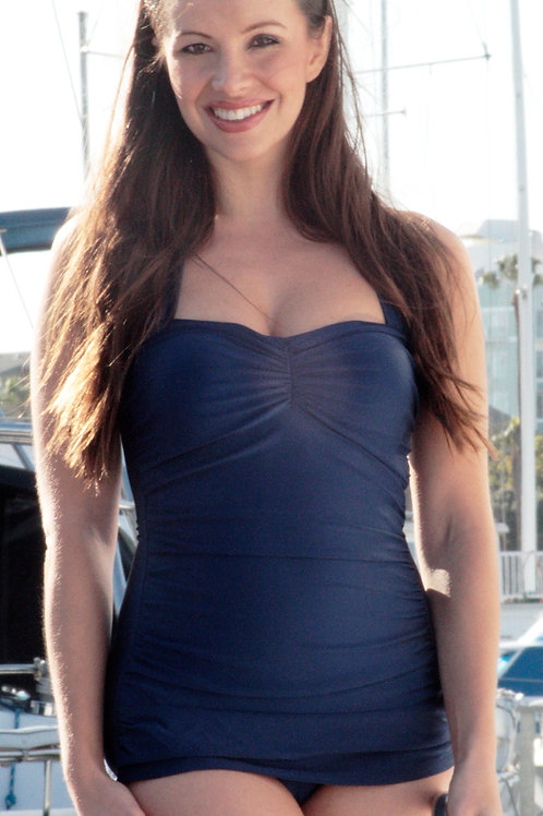 Classic Sheath Swimsuit Solid Navy