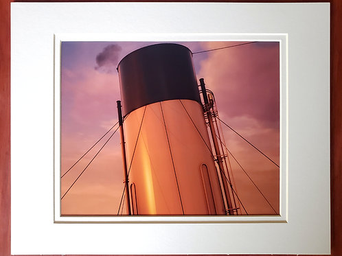 Sunset Titanic Funnel Matted Print