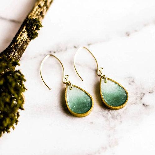 Seafoam Brass Raindrop Earrings