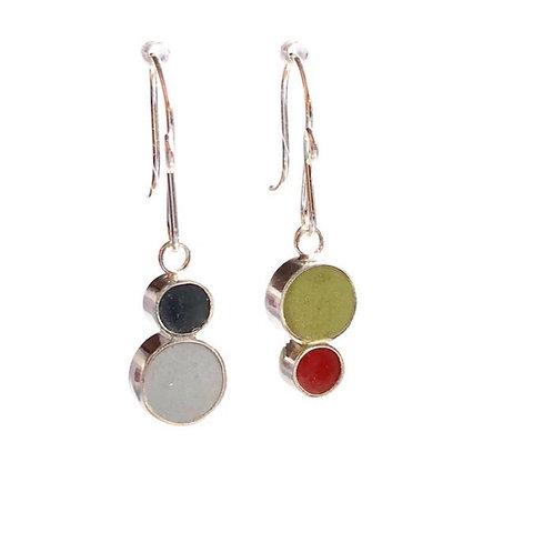 Reversible Double Dot Earrings - Grey /Green / Tomato