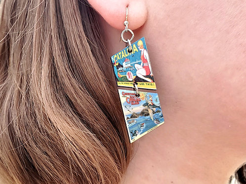 Wrigley Ad & Flying Fish Greetings Wooden Earrings