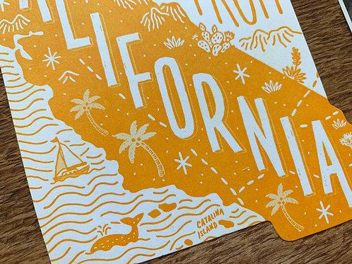 California Letterpress Postcard