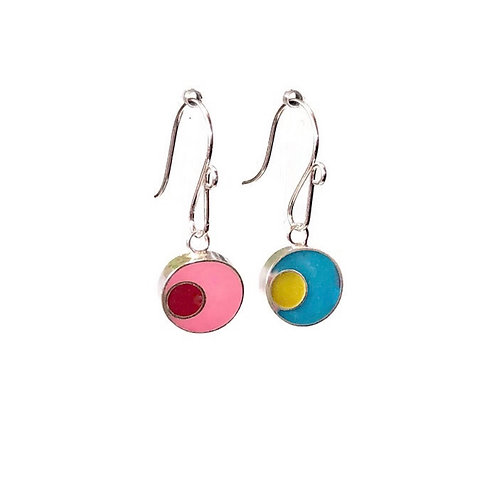 Mod Circles Reversible Earrings - Raspberry Lime