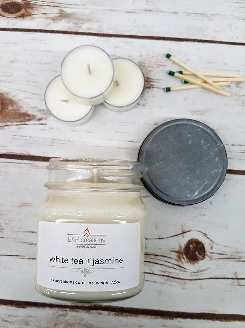White Tea + Jasmine 8 oz. Mason Jar Candle