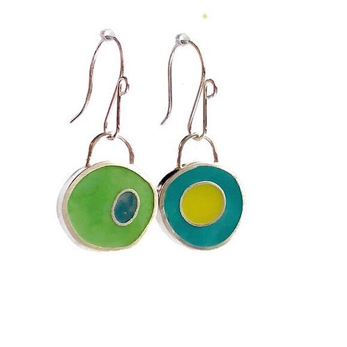 Grass and Sky Mix - Mismatched Reversible Earrings