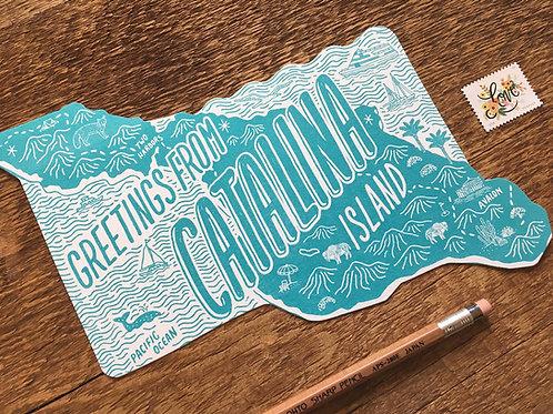 Catalina Letterpress Postcard