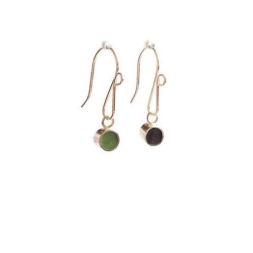 Double Sided Moss Green and Eggplant Dot Earrings