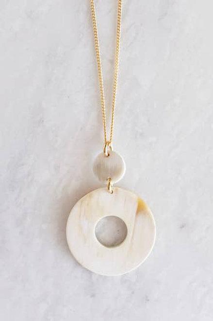 Buffalo Horn Donut Pendant Necklace