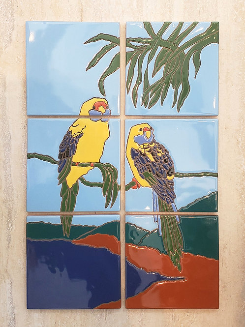 Catalina Lorikeets Tile Mural Reproduction