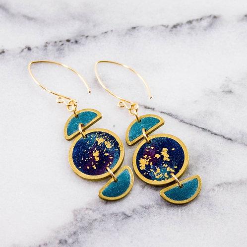 Stacked Moon & Galaxy Earrings