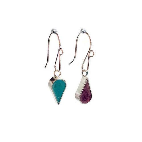 Reversible Teardrop Earrings - Aqua and Raspberry