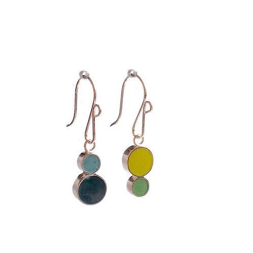 Reversible Double Dot Earrings - Aqua / Green