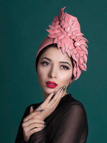 turban Elsa, pink leather