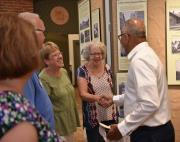 BJ Dixon, historical society secretary and Diann Linton, historical society treasurer greeting Lieutenant Governor Rutherford