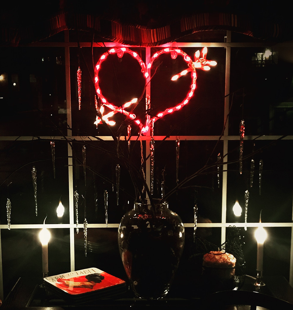 Valentine heart lit up at night