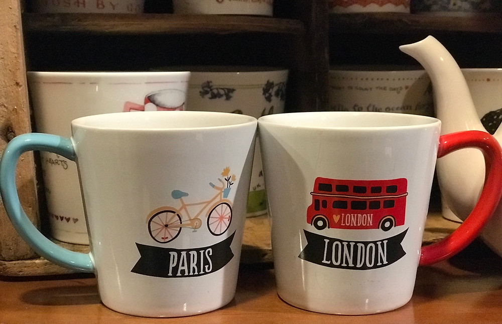 Paris and London mugs