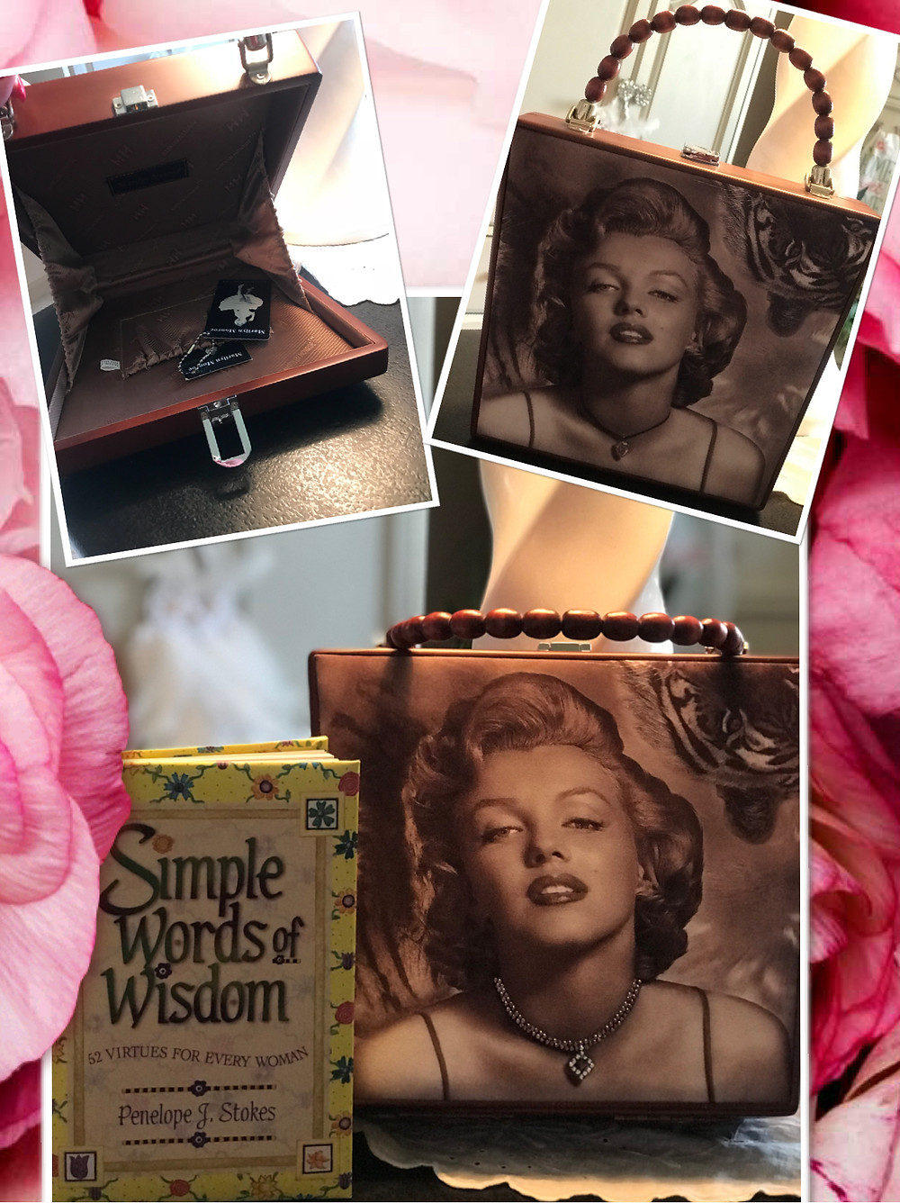 Marilyn Monroe purse and Virtue book