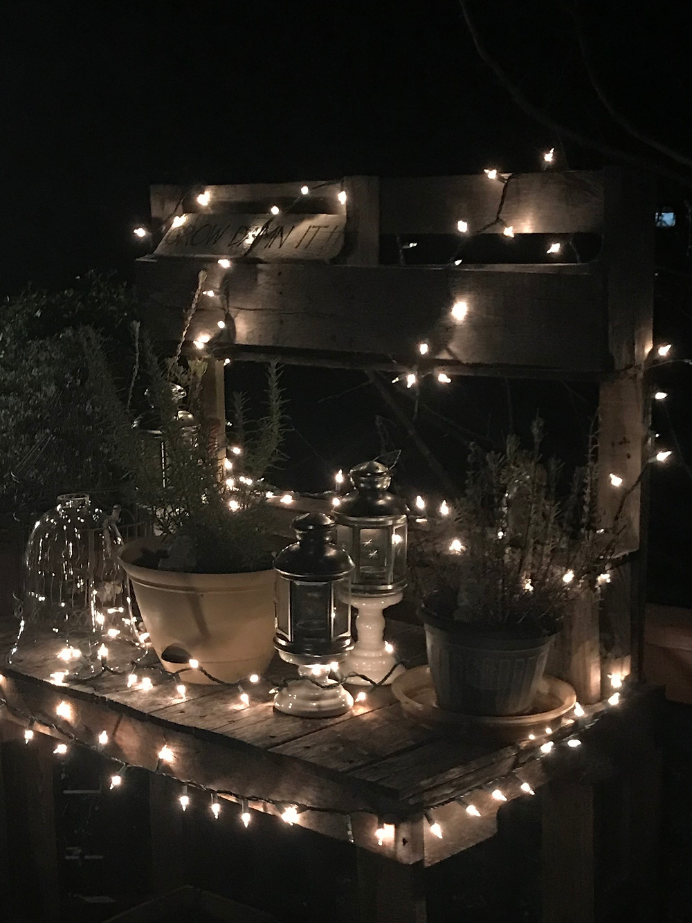 potting bench lit up