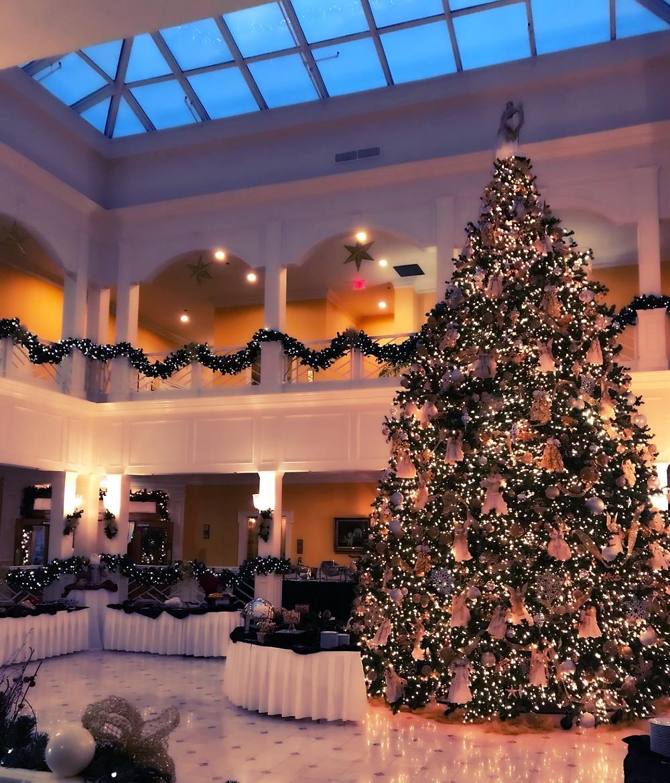 Beautiful giant Christmas tree in atrium