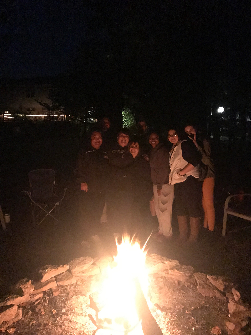 friends around the bonfire