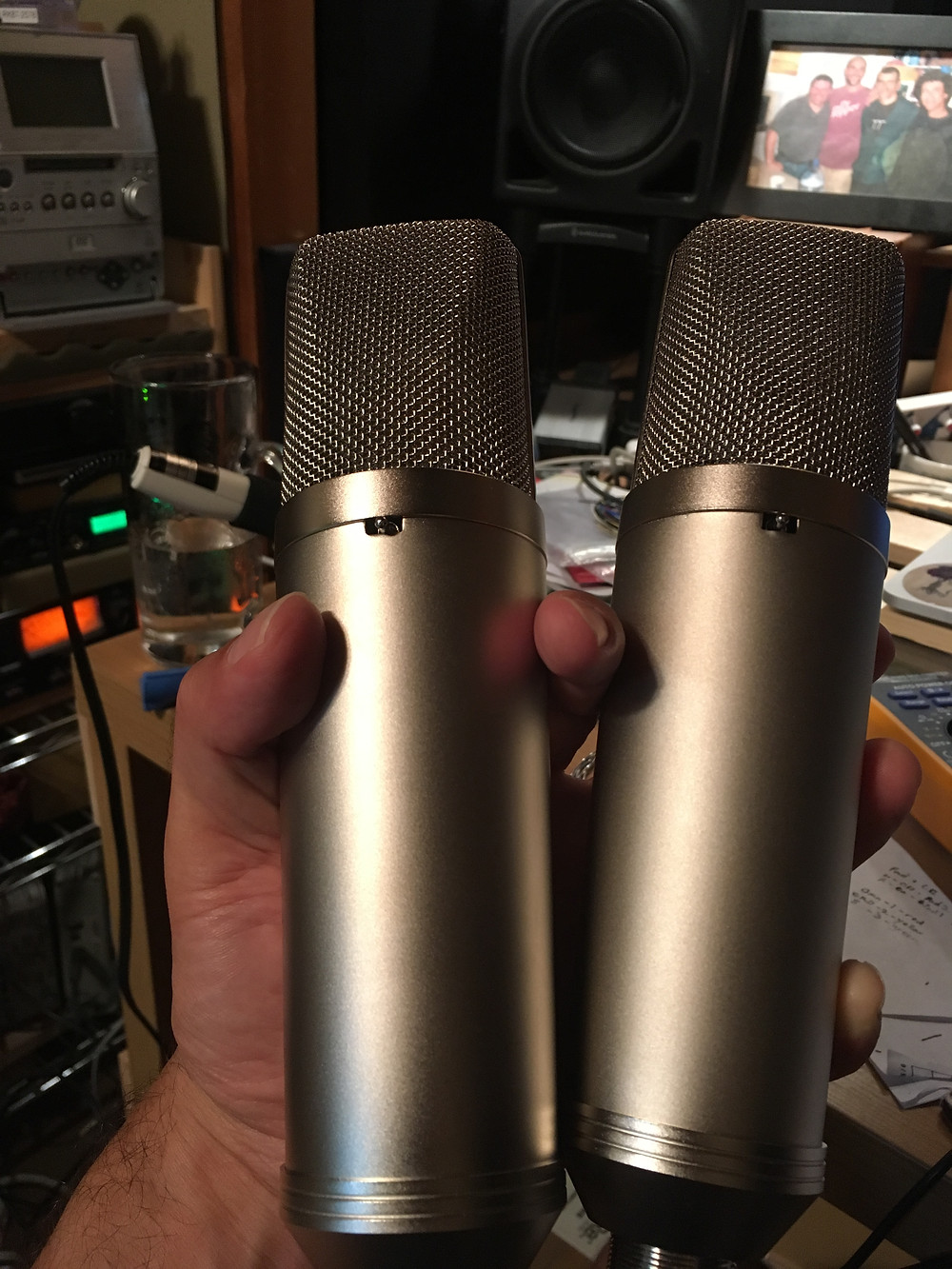 CE87 (U87 clone mics by Clear Echo) matched stereo pair.