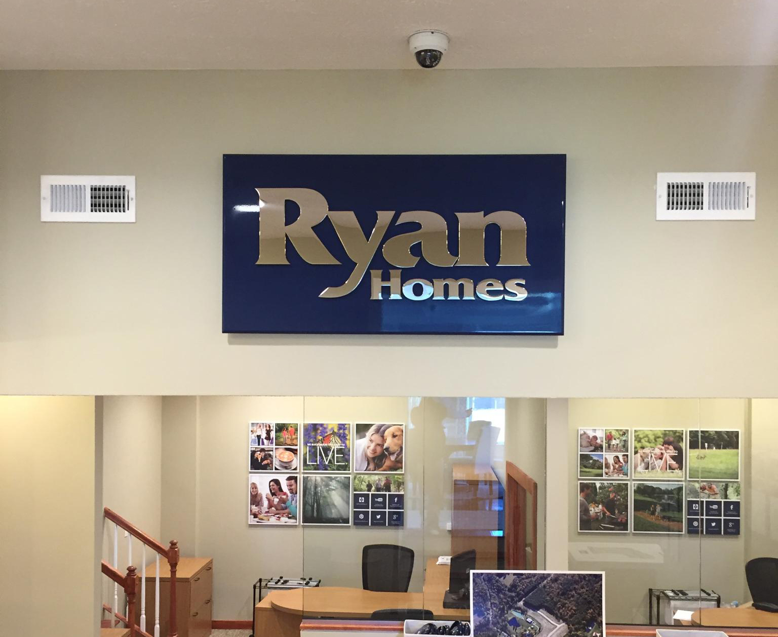 Ryan Homes branding wall sign