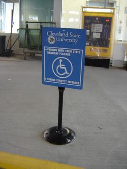 CSU South garage stanchion sign
