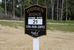 Hidden Ridge lot sign