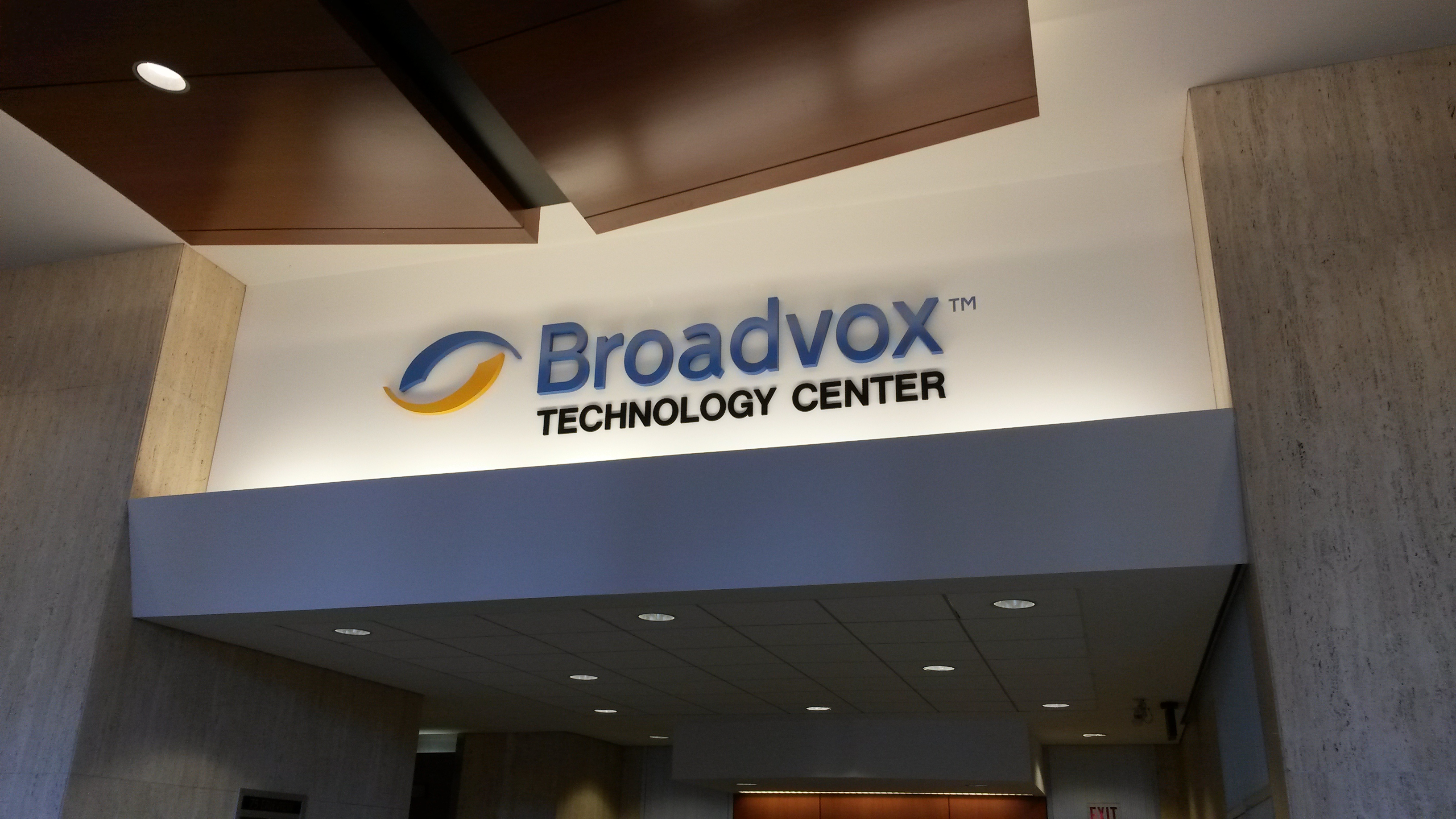 Broadvox lobby wall sign