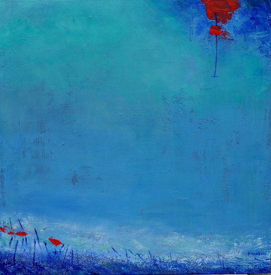 Red Cloud in Blue Sky, by Peggy Hinaekian