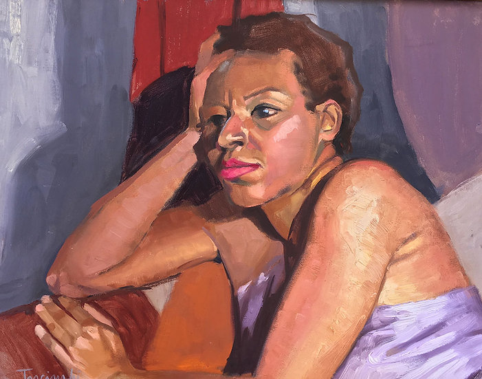 Shondra in a Purple Dress, by Barbara Trzcinski