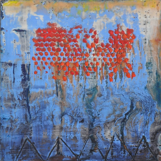 Red Raindrops, by Peggy Hinaekian