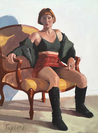 Lori in a Red Plaid Skirt, by Barbara Trzcinski