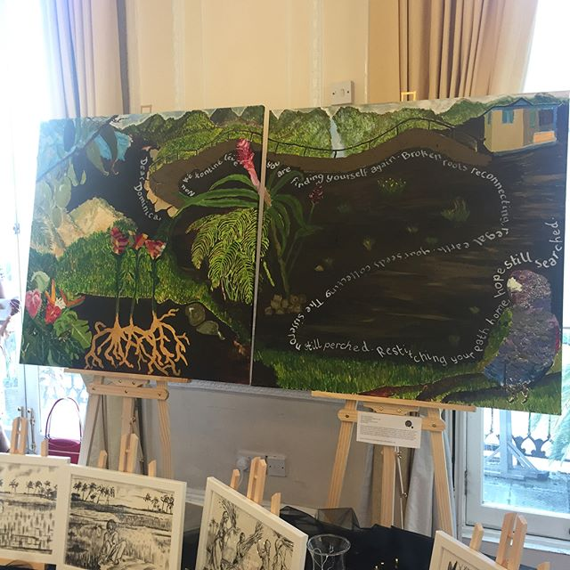 'Dear Dominica', (Rebirth), 2 x 100 x100cm, mixed media on canvas, 2018,_