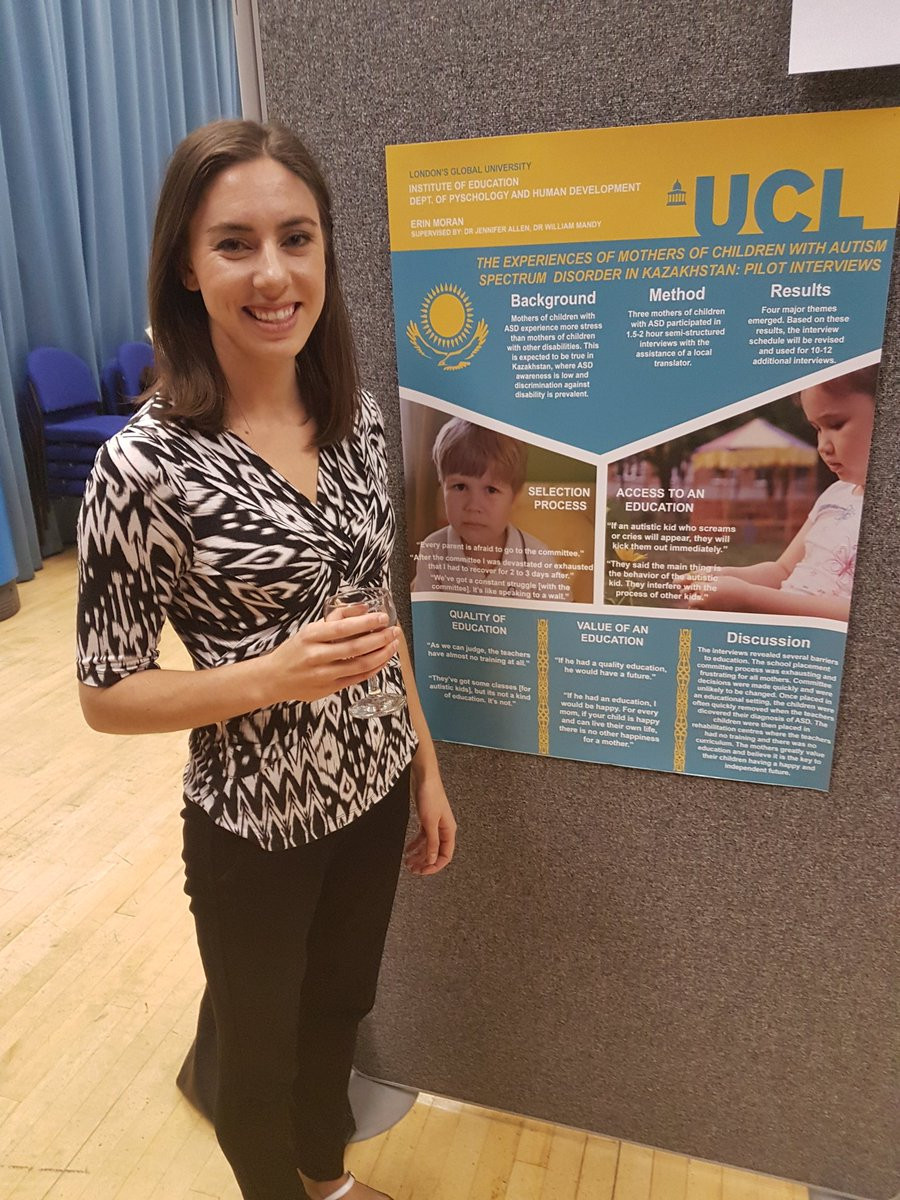 PhD student and SHINE lab member Erin Moran presented her inspiring research at the March IOE doctoral student conference aimed at reducing stigma and increasing access to education for children with autism  in Kazakhstan