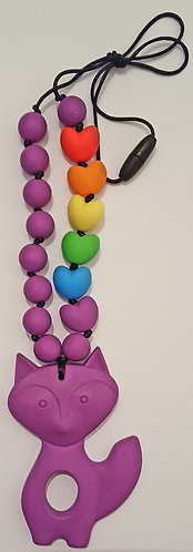Teething/Chewable Necklace with Rainbow Beads & Large Fox Teether Pendant