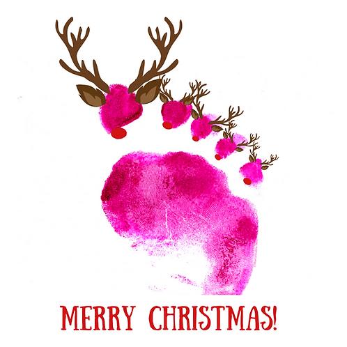 Reflexology Christmas Cards/Postcards (Reindeer)