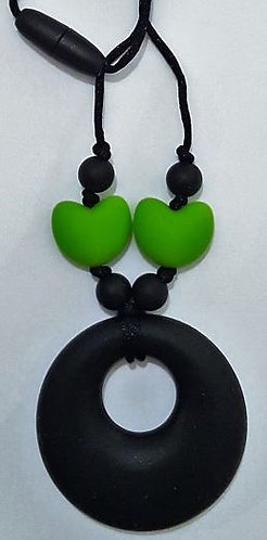 Teething/Chewable Necklace with Heart Beads and Doughnut Pendant