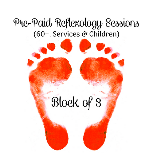 Pre-Paid Reflexology Sessions (Block of 3)(60+, Services & Children)