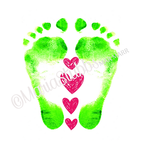 Reflexology Feet and String of Hearts Greeting Card/Postcard/Gift Voucher/Poster