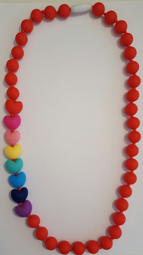 Teething/Chewable Necklace with Rainbow Heart Beads