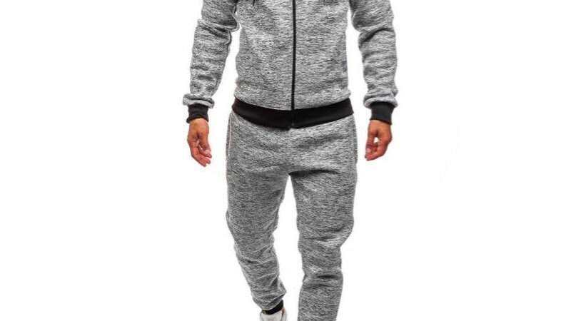 ZOGAA Plus Size Mens Sports Suit Casual Solid Street wear Men Tracksuit 2 Piece