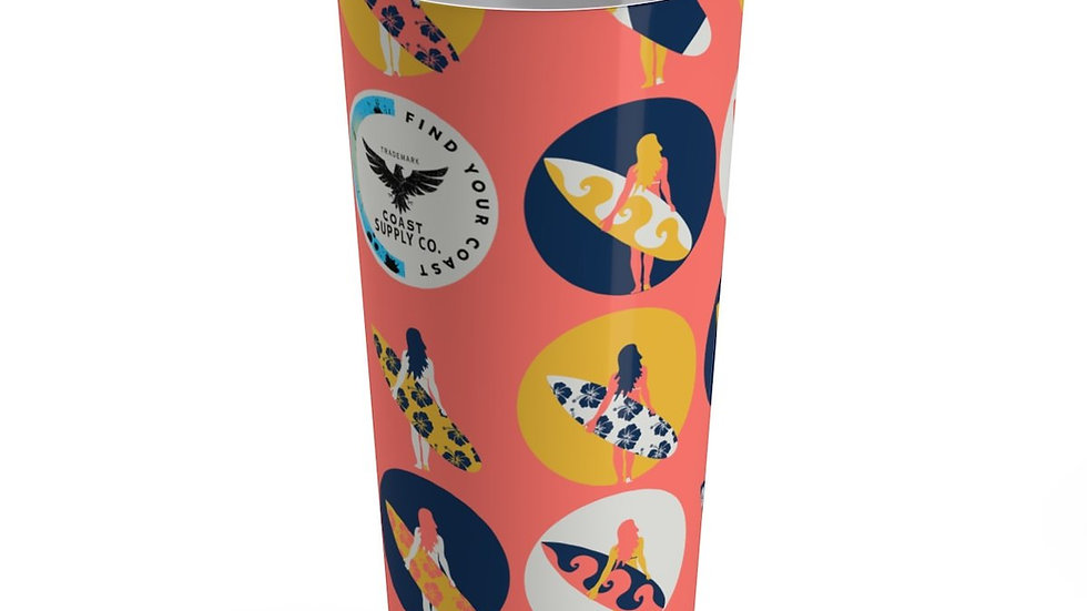 Find Your Coast 20 Oz Stainless Steel Surfer Girl Art Stainless Steel Tumbler