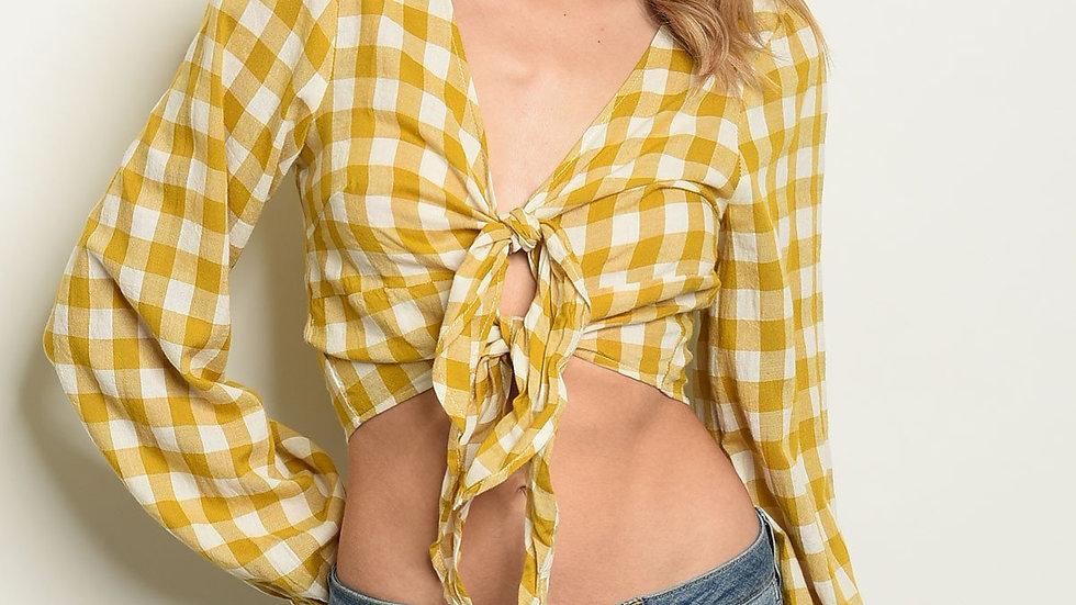 Mustard Checkered Top
