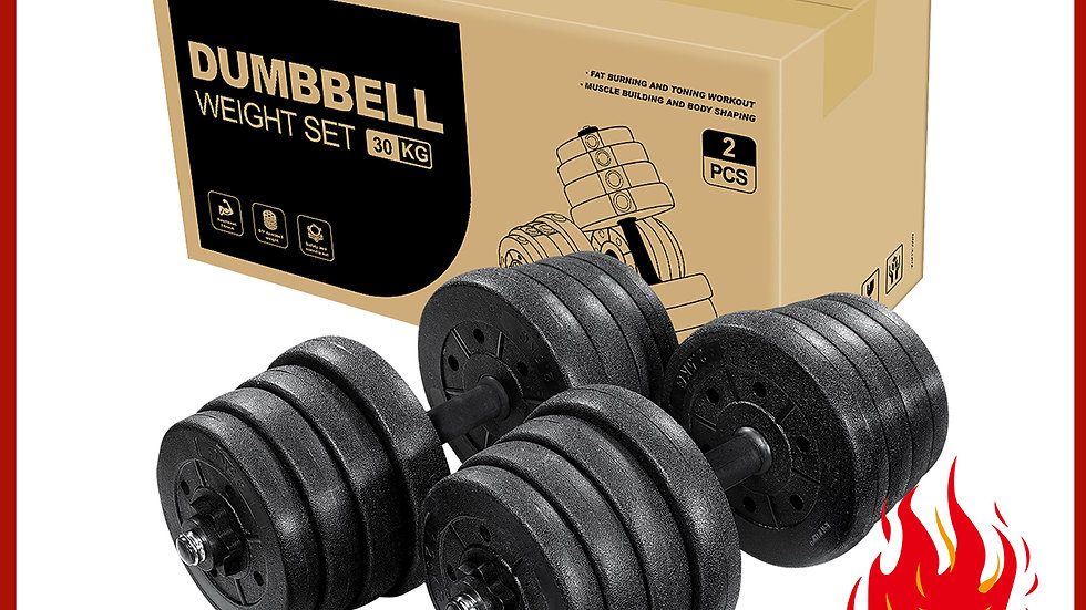 A Pair of 30kg Dumbbell Weight Set Adjustable Solid Fitness Dumbbell Set