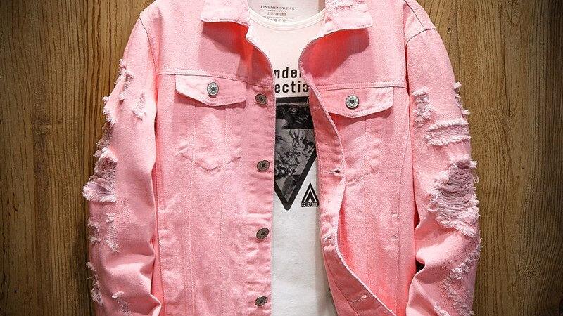 Denim Jacket Men Ripped Holes Mens Pinkm Coat Designer Clothes