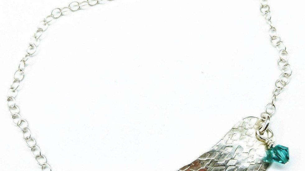 Sterling Silver Angel Wing Crystal Charm Bracelet